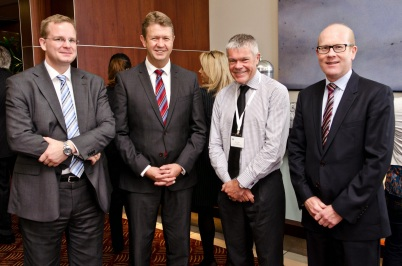 Dr Oliver Marc Hartwich, Labour leader David Cunliffe, Air New Zealand chairman Tony Carter, Bell Gully chairman Roger Partridge (March 2014)