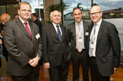 Dr Oliver Marc Hartwich, former Australian Prime Minister John Howard AC AO, Bank of New Zealand CEO Andrew Thorburn, Bell Gully chairman Roger Partridge (March 2103)