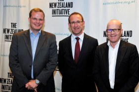 Dr Oliver Marc Hartwich, Leader of the Opposition Andrew Little, The New Zealand Initiative chairman Roger Partridge (March 2015)