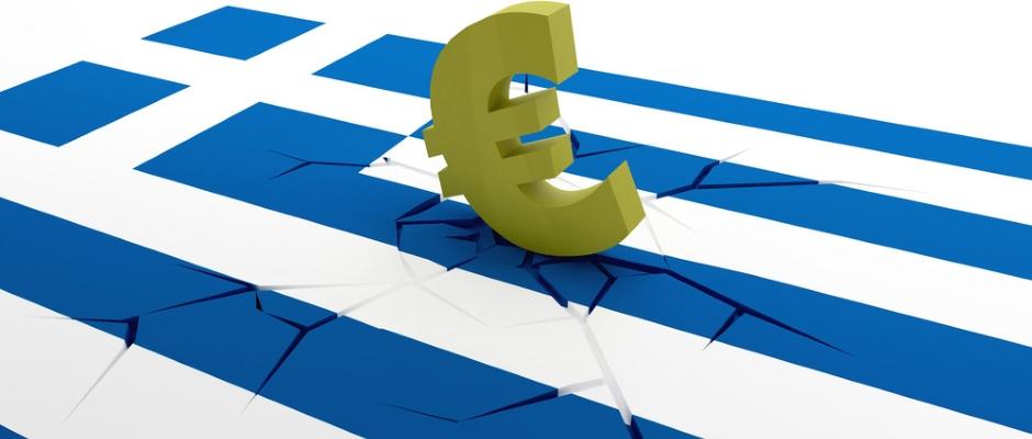 Euro symbol on greek crack flags background