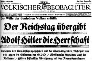 Titelseite des Völkischen Beobachters vom 24. März 1933 nach der Annahme des Ermächtigungsgesetzes